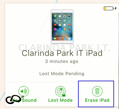 ERASE DEVICE of FIND IPHONE feature.