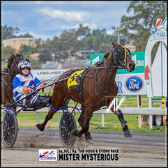 MISTER MYSTERIOUS, driven by Justn Reynolds, wins at the Parkes Trots last 05 July 2020.