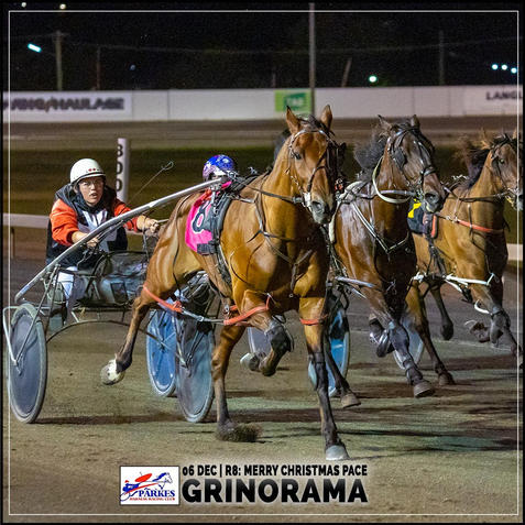 GRINORAMA, driven by Laura Rusten, wins at Parkes Trots