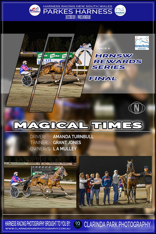 MAGICAL TIMES Wins at Parkes Harness Racing Club | Trainer: Grant Jones | Driver: Amanda Turnbull | Owner: Luke Mulley