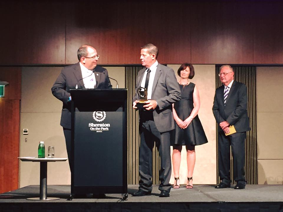 Tony Dumesny of Parkes Harness Racing Club receiving the award for Best Club in HRNSW Industry Awards Night 2016