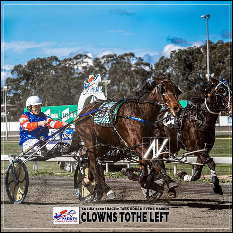 CLOWNS TOTHE LEFT, driven by Todd Day, wins at Parkes Trots last 19 July 2020