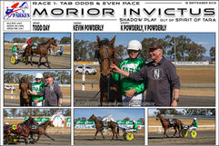 Race 1 TAB ODDS & EVENS PACE. Morior Invictus wins at Parkes Harness Trots.