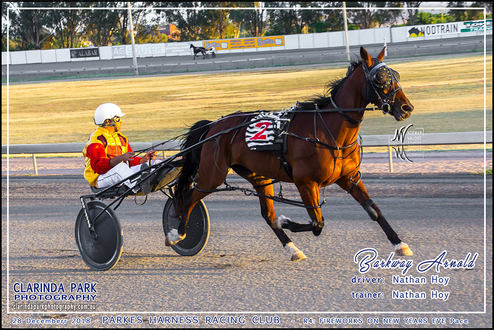 Race 4: Parkes Harness New Years Eve Carnival of Cups Pace has been won by Nathan Hoy driving Barkway Arnold