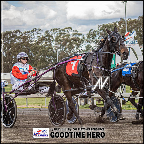 GOODTIME HERO, driven by Madi Young, wins at Parkes Trots last 19 July 2020