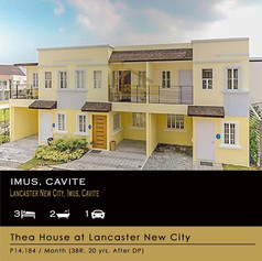 Townhouse for sale at Imus Cavite,  Thea house at Lancaster New City is a 2-storey townhouse model that comes with a balcony perfect for morning coffees or afternoon chill. Despite its size, Thea Townhouse has surprisingly large living spaces you may utilize that make it the ideal choice for young, growing families. It comes with 3 Bedrooms, 2 Toilet & Bath, Living Room, Dining Room, Kitchen Area, Balcony and 1 car garage.     HOUSE MODEL:                   Thea House Model  FLOOR AREA:                       60 square meters (646 sq. ft.)  TYPICAL LOT AREA:            50 square meters (538 sq. ft.)  HOUSE TYPE:                       Townhouse  BEDROOMS:                        Three (3) Bedrooms  TOILETS & BATH                 Two (2) Toilet & Bath  CAR GARAGE:                      One (1) Car garage  BALCONY:                            Yes  STATUS:                                READY TO OCCUPY      Floor Plan & Room Dimensions  *Lot Dimensions  Length:                        10 meters  Width:                          5 meters        *Dimensions – Ground Floor  Living Area:                8.50 sqm  Kitchen/Dining:         6.90 sqm  Bedroom 1:               7.50 sqm  Toilet & Bath:            2.30 sqm  Stairway:                   2.80 sqm        *Second Floor Dimensions  Bedroom 2:                  9.90 sqm  Master's Bedroom:     10.40 sqm  Toilet:                            3.10 sqm  Balcony:                        2.80 sqm  Stairway:                       5.80 sqm   HOUSE MATERIALS & FINISHES:  Pre-painted long span roofing Painted plain cement finish for interior and exterior walls Tiled kitchen counter with stainless kitchen sink Tiled toilet and bath with complete set of bathroom fixtures (Excluding tissue and soap holder) Interior and exterior wall paint finish Painted steel casement windows Smooth cement flooring Provision for CATV, Telephone, Air Conditioning Outlet   VILLAGE FACILITIES & AMENITIES  Gated community with elegant entrance gate for each phase Le