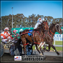 GABBYS IDEAL, driven by Nathan Hurst, wins at Parkes Trots last 30 August 2020