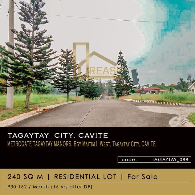 240 sqm Residential Lot For Sale at Metrogate Manor, Tagaytay City, Cavite