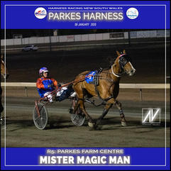 PARKES HARNESS - Race 5 - PARKES FARM CENTRE PACE - MISTER MAGIC MAN wins at Parkes Trots.