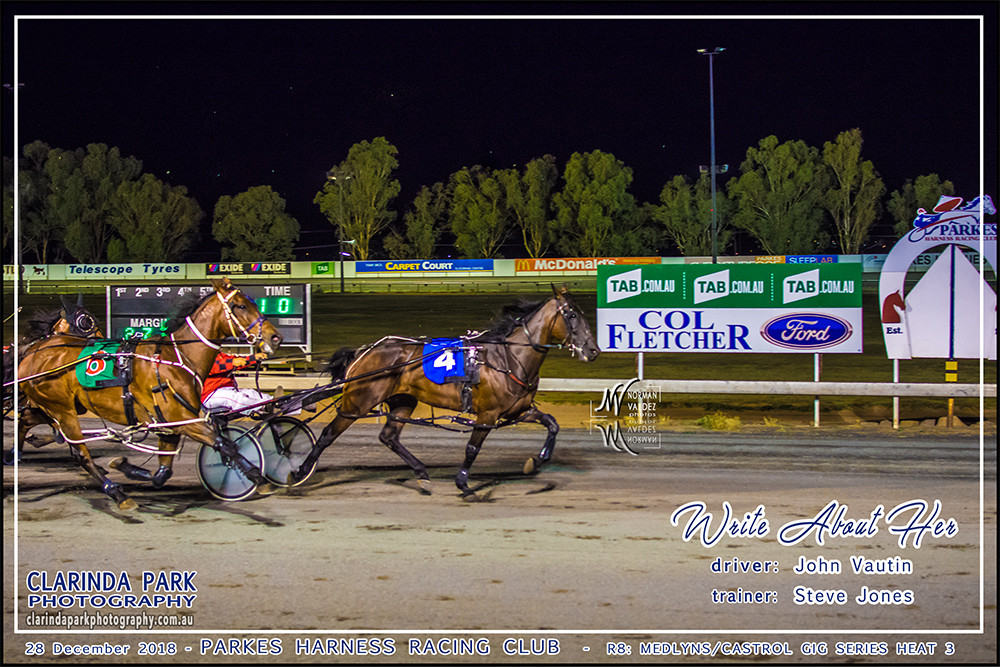Parkes Harness Race 8 is the Medlyns Castrol Gig Series Heat 3, and has been won by Write About Her driven by John Vautin.
