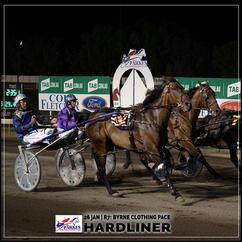 HARDLINER, driven by Brett Hutchings, wins at Parkes Trots