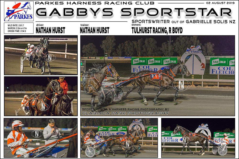 GABBYS SPORTSTAR Wins at Parkes Harness Racing Club. Trainer: Nathan Hurst. Driver: Nathan Hurst. Owner: Tulhurst Racing, R Boyd