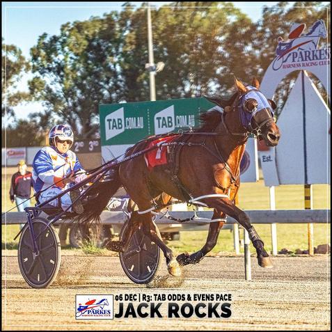 JACK ROCKS, driven by Justin Reynolds, wins at Parkes Trots