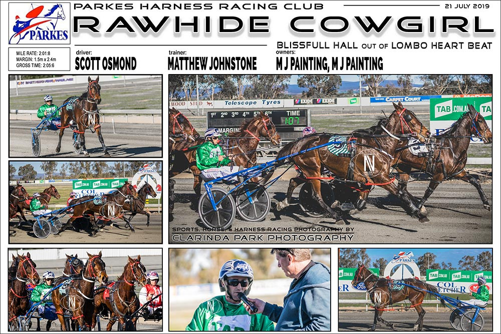 RAWHIDE COWGIRL Wins at Parkes Harness Racing Club. Trainer: Matthew Johnstone. Driver: Scott Osmond. Owner: M J Painting