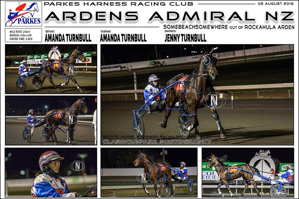ARDENS ADMIRAL NZ Wins at Parkes Harness Racing Club. Trainer: Amanda Turnbull. Driver: Amanda Turnbull. Owner: Jenny Turnbull