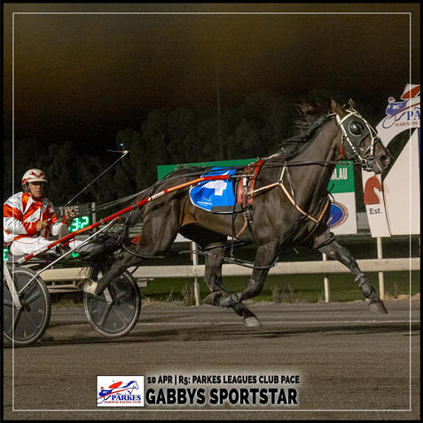 GABBYS SPORTSTAR, driven by Nathan Hurst, won at the Parkes Trots