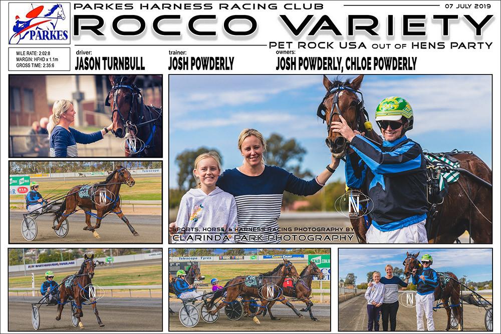 Rocco Variety Wins at Parkes Harness Racing Club. Driver: Jason Turnbull. Trainer: Josh Powderly. Owners: Chloe Powderly and Josh Powderly.