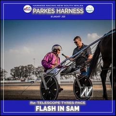 PARKES HARNESS - Race 2 - TELESCOPE TYRES PACE - FLASH IN SAM wins at Parkes Trots.