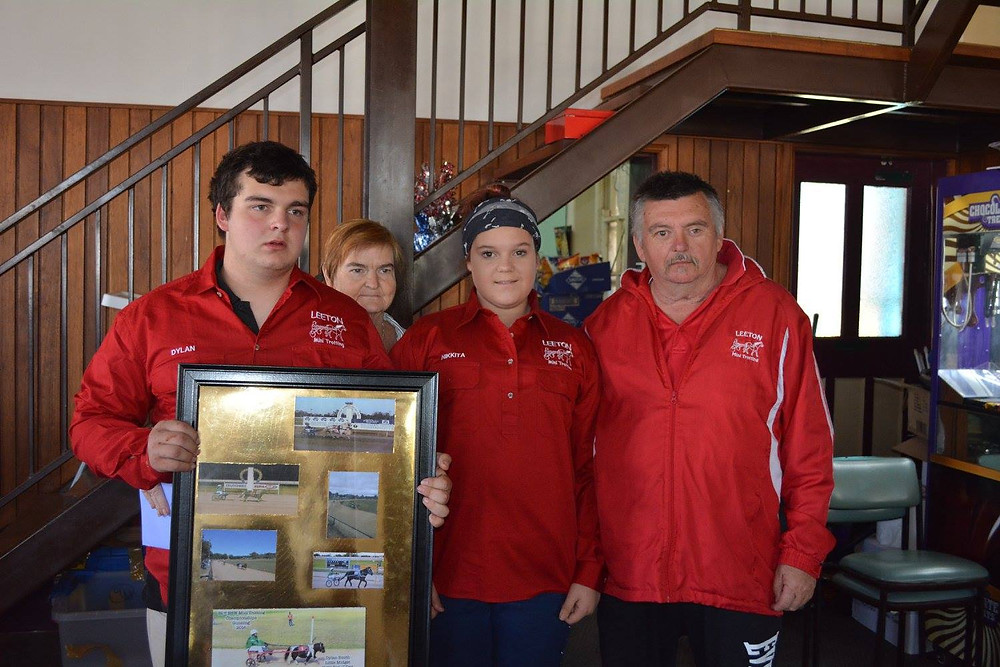 Leeton Mini Trots - Dylan Smith receiving his photo collage from Nana, Pop, and sister Nikkita