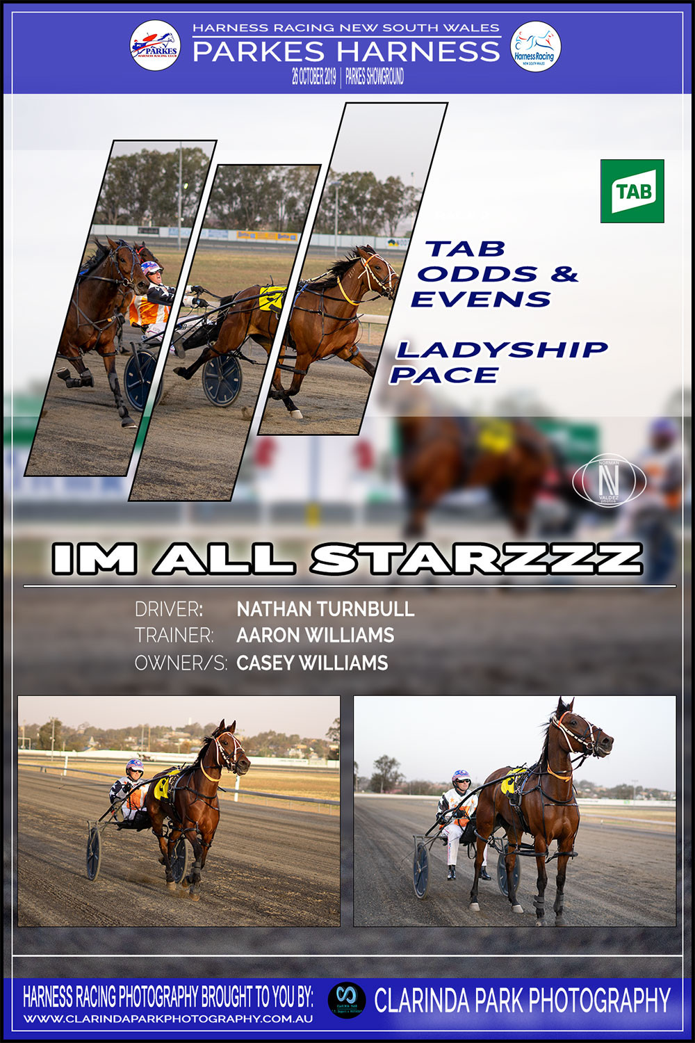 IM ALL STARZZZ Wins at Parkes Harness Racing Club | Trainer: Aaron Williams | Driver: Nathan Turnbull | Owner: Casey Williams