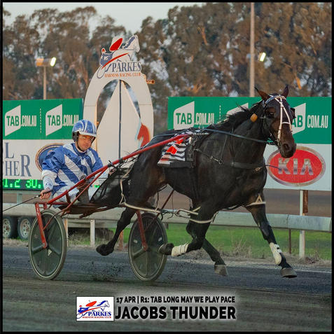 JACOBS THUNDER, driven by Jack Pay, won at the Parkes Trots