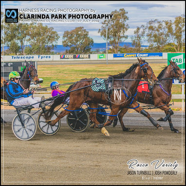 07 JULY 2019 - Parkes Harness Racing Club Race Meeting - Rocco Variety driven by Jason Turnbull and trained by Josh Powderly at Parkes Trots