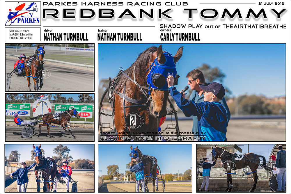 Redbank Tommy Wins at Parkes Harness Racing Club. Trainer: Nathan Turnbull. Driver: Nathan Turnbull. Owner: Carly Turnbull