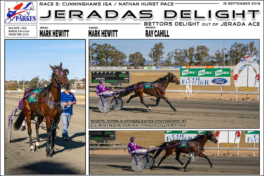 JERADAS DELIGHT Wins at Parkes Harness Racing Club. Trainer: Mark Hewitt. Driver: Mark Hewitt. Owner: Ray Cahill