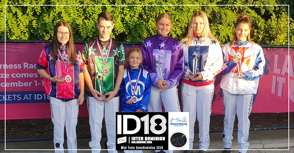 New South Wales Mini Trotting Association (NSW MTA) Dominates the NSW Mini Trots Inter Dominion (ID18). Jayla Beresford. Mason Beresford, Mia McMillan, Jemma Howard Coney. Grace Panella. Chloe Formosa.