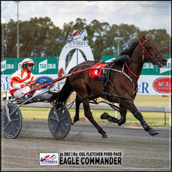 EAGLE COMMANDER, driven by Nathan Hurst, wins at Parkes Trots