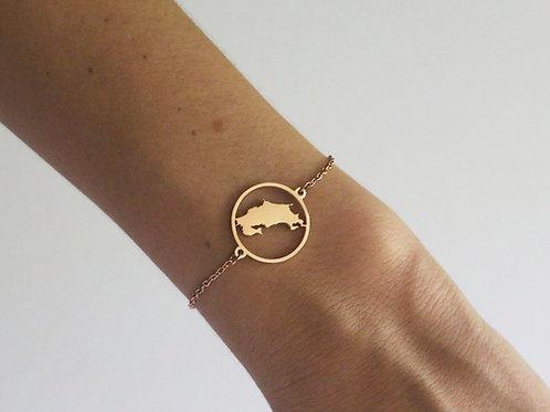 Costa Rica Map Rose Gold Bracelet