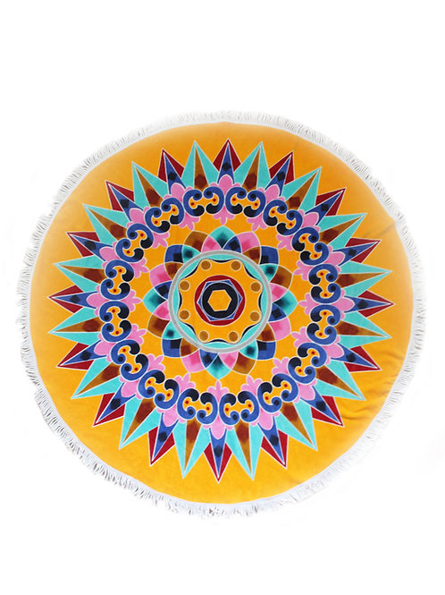 "Round Beach Towel ""Yellow Oxcart Wheel"""
