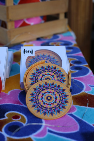 oxcart leather coasters