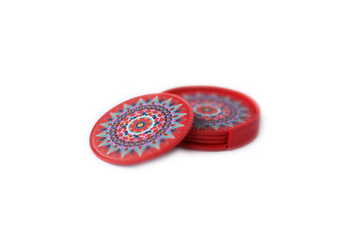 Oxcart Wheel Leather Coasters (Red)