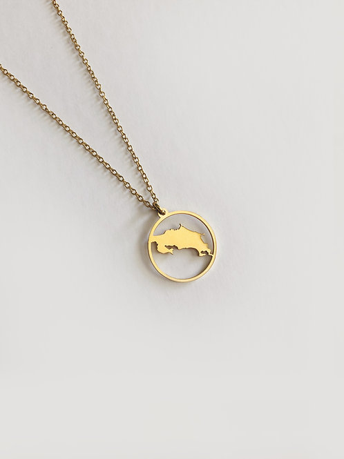 Costa Rica Map Gold Necklace