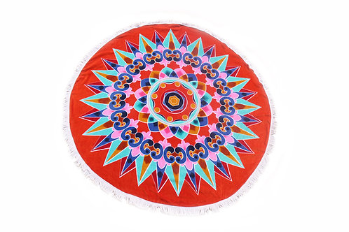 """Round Beach Towel """"Red Oxcart Wheel"""""""