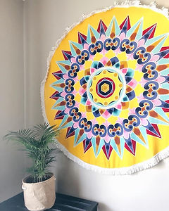yellow oxcart round beach towel