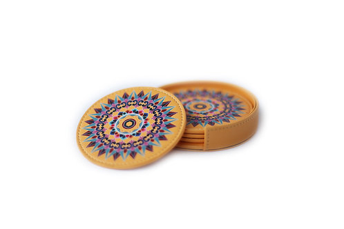 Oxcart Wheel Leather Coasters (Yellow)