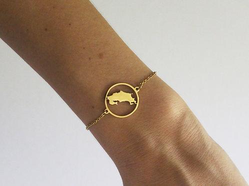 Costa Rica Map Gold Bracelet