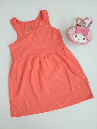 Golden Diamond Print Dress (Coral)