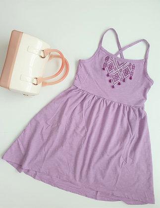 Cross-back Dip-hem Dress