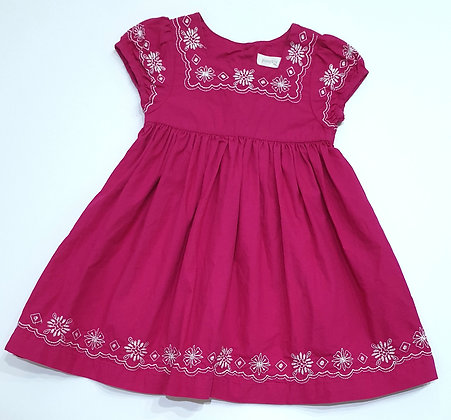 Embroidery Detailed Fuchsia Dress