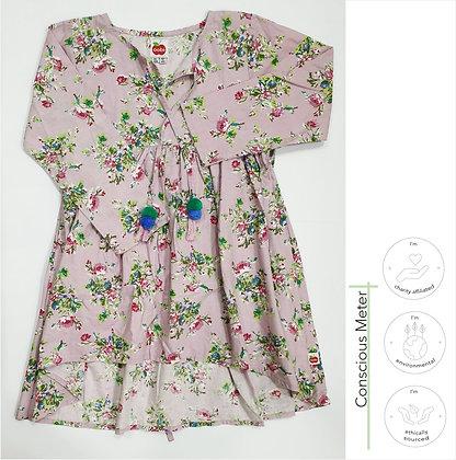 Floral Dip-hem Dress