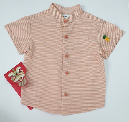 Fruits Embroidery Mandarin Collar Shirt