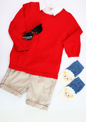 Pullover Sweater with Collar (Red)