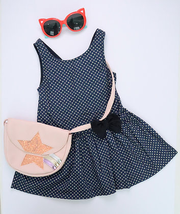 Sleeveless Polka Dot Dress (Blue)