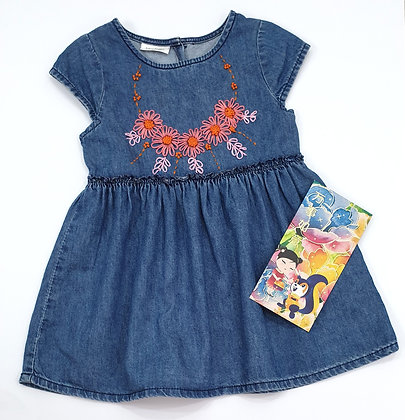 Floral Embroidery Denim Dress