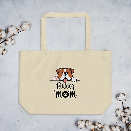 Bulldog Mom Large organic tote bag