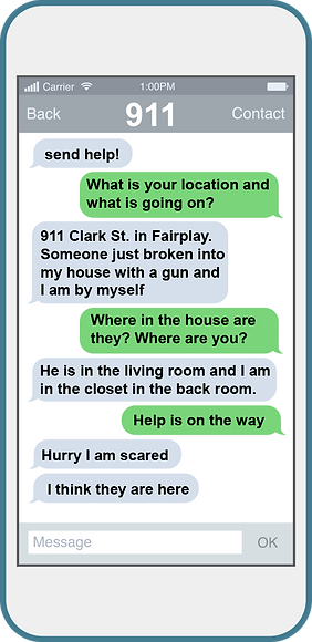 Cellular phone depicting 911 text messages