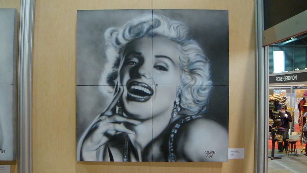 Peinture de Marilyn Monroe sur toile en noir et blanc | Yan Pigeon